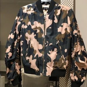 Topshop Silky Camo Bomber Jacket